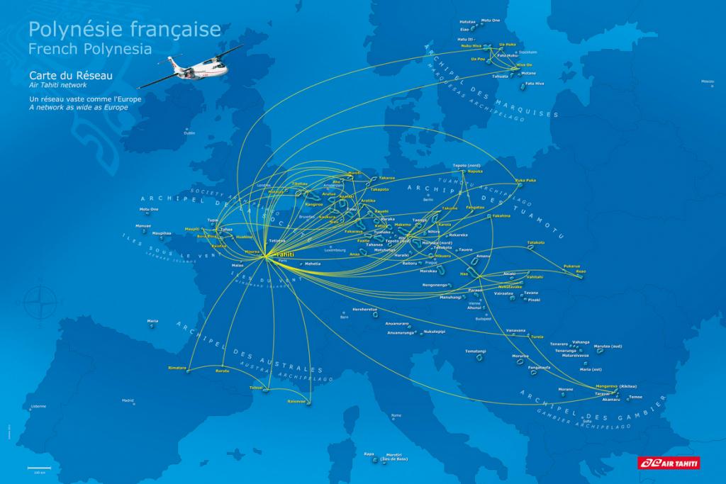 Carte du réseau aérien d'Air Tahiti