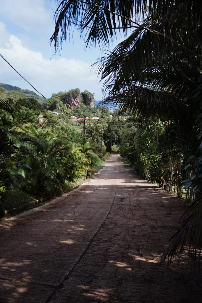 Arrivée au village d'Avera après une randonnée sur les crêtes de Rurutu, archipel des Australes, Polynésie française